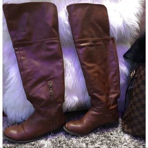 Shoes - Above the knee, brown pleather boots size 7